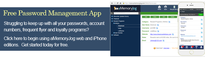 aMemoryJog Free Password Management App