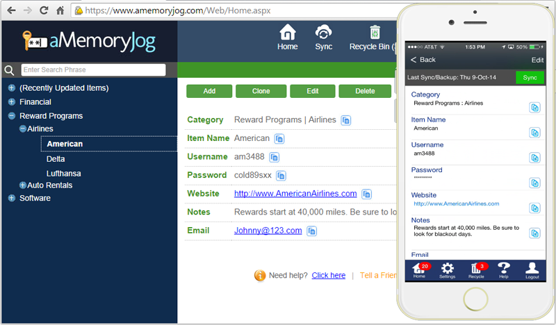 aMemoryJog Password Manager Web and iPhone editions