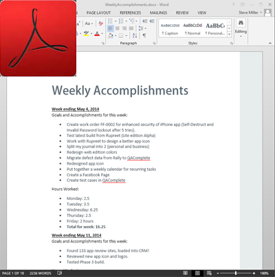 Weekly Accomplishments - PDF Format