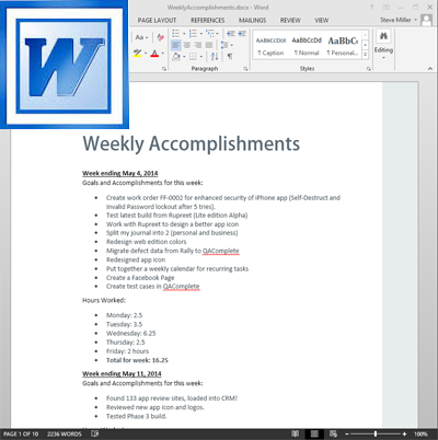 Weekly Accomplishments - MS Word format