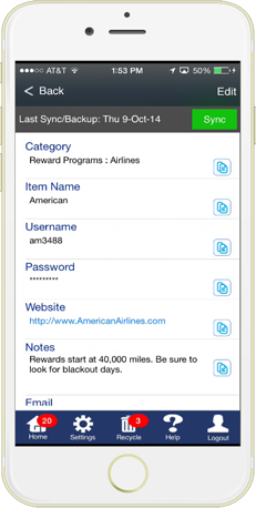 Features of aMemoryJog Password Manager App for iPhone